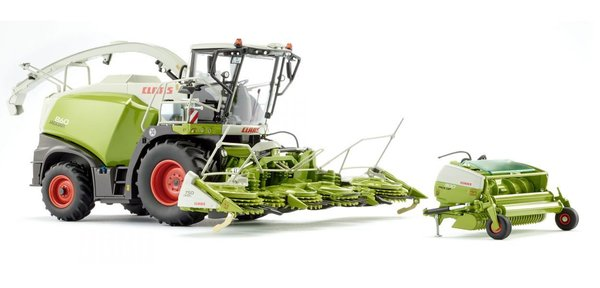 Wiking  Claas Jaguar 860 Feldhäcksler mit Orbis 750 und Pick up 300